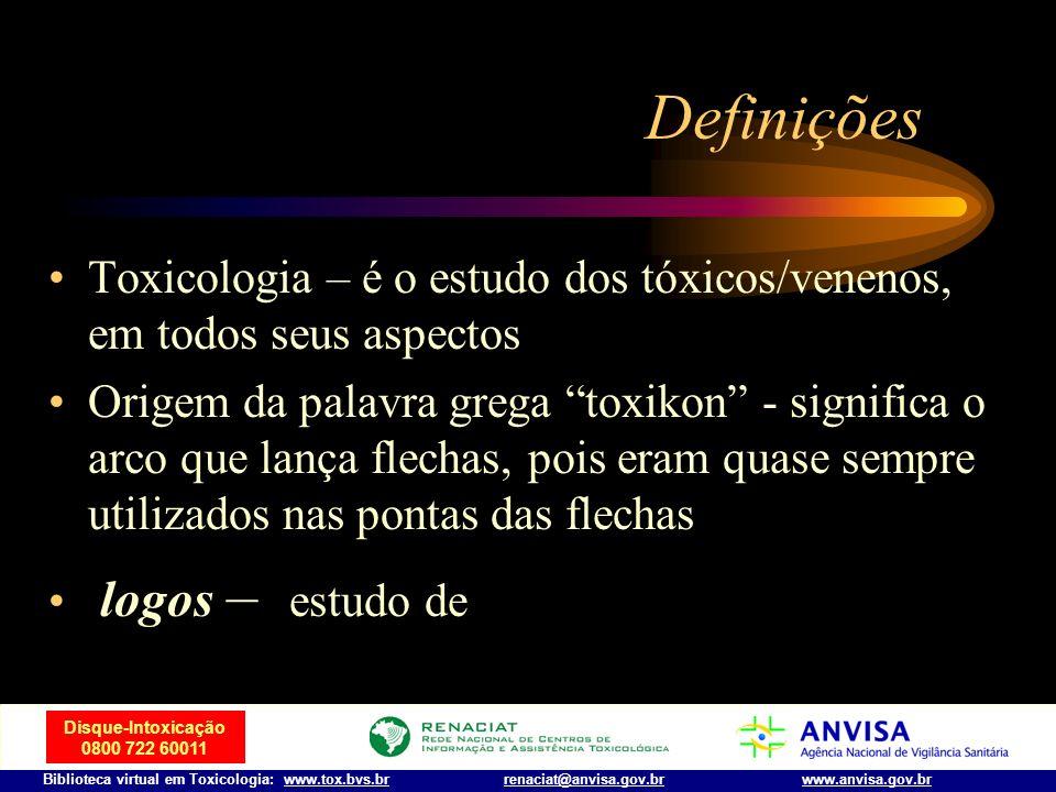 Disque-Intoxicação 0800 722 60011 Biblioteca virtual em Toxicologia: www.tox.bvs.brwww.anvisa.gov.brrenaciat@anvisa.gov.br Introdução Venenos de vário