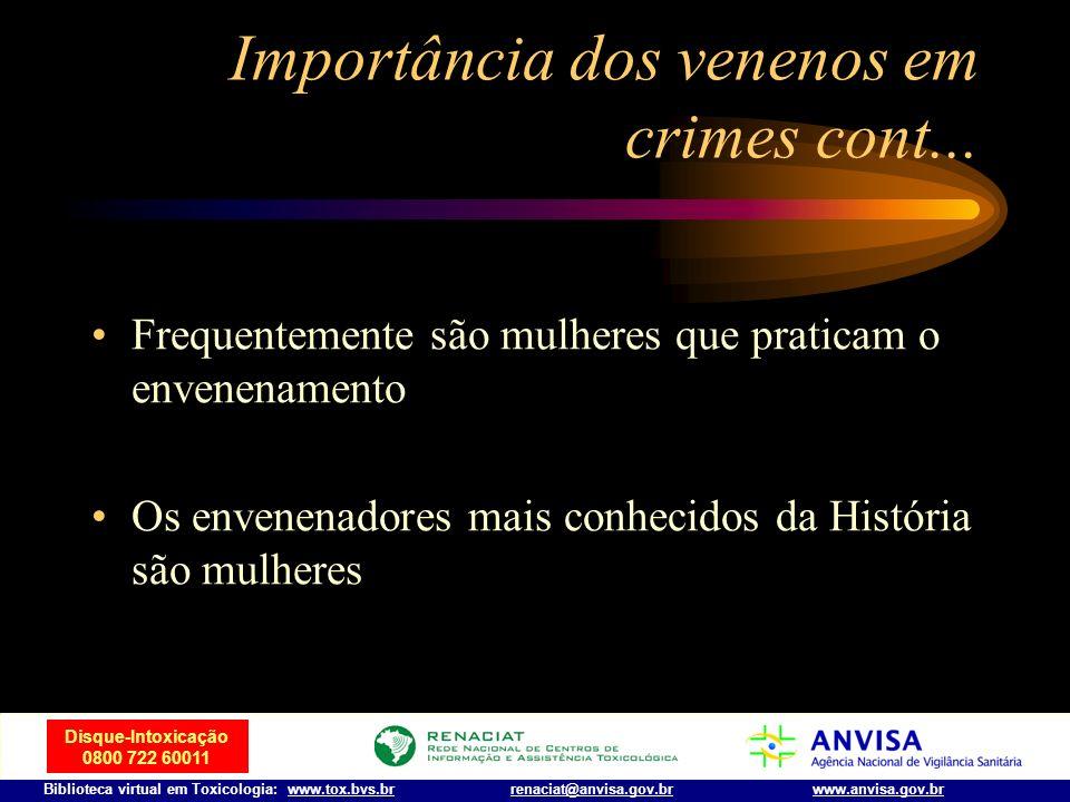 Disque-Intoxicação 0800 722 60011 Biblioteca virtual em Toxicologia: www.tox.bvs.brwww.anvisa.gov.brrenaciat@anvisa.gov.br Importância dos venenos em