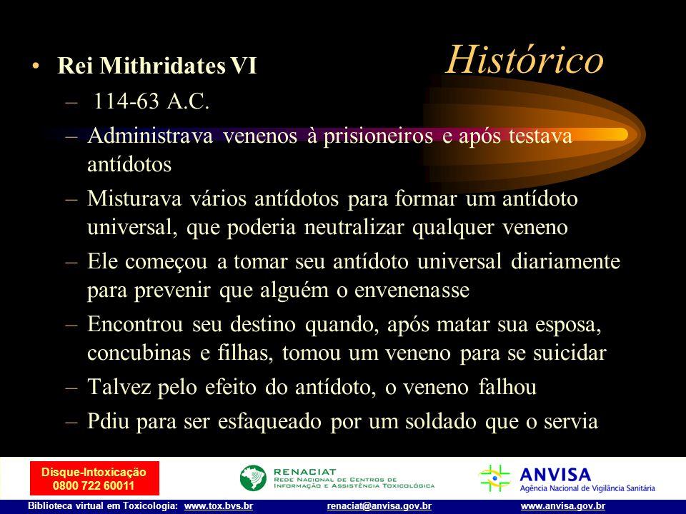 Disque-Intoxicação 0800 722 60011 Biblioteca virtual em Toxicologia: www.tox.bvs.brwww.anvisa.gov.brrenaciat@anvisa.gov.br Histórico O crescente uso d