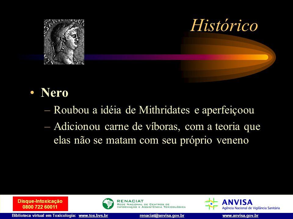 Disque-Intoxicação 0800 722 60011 Biblioteca virtual em Toxicologia: www.tox.bvs.brwww.anvisa.gov.brrenaciat@anvisa.gov.br Histórico Rei Mithridates V