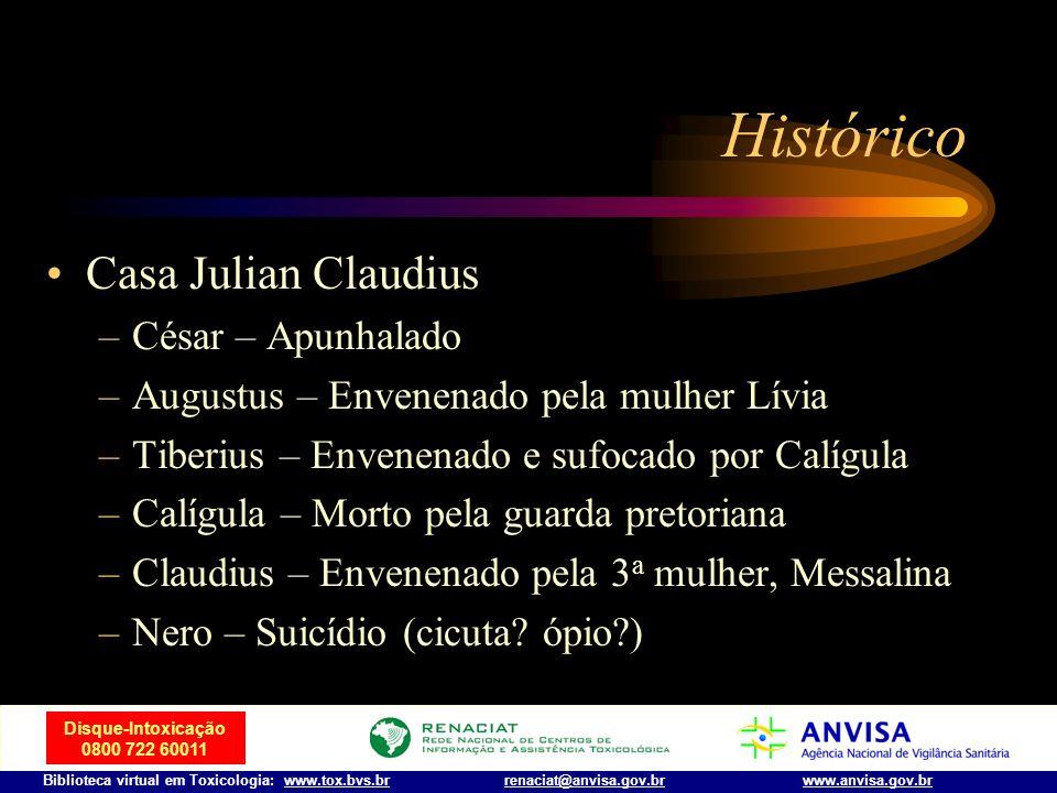 Disque-Intoxicação 0800 722 60011 Biblioteca virtual em Toxicologia: www.tox.bvs.brwww.anvisa.gov.brrenaciat@anvisa.gov.br Histórico Nero –Roubou a id