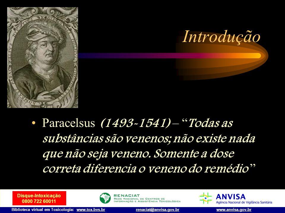 Disque-Intoxicação 0800 722 60011 Biblioteca virtual em Toxicologia: www.tox.bvs.brwww.anvisa.gov.brrenaciat@anvisa.gov.br Histórico Nicander de Colop