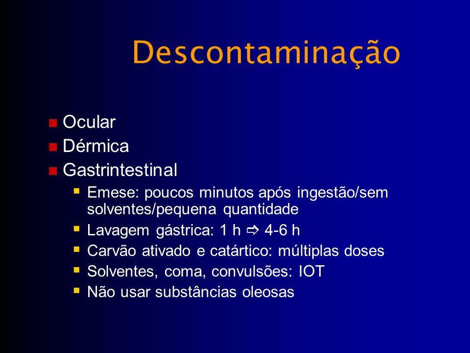 Ocular Dérmica Gastrintestinal Emese: poucos minutos após ingestão/sem solventes/pequena quantidade Lavagem gástrica: 1 h 4-6 h Carvão ativado e catár