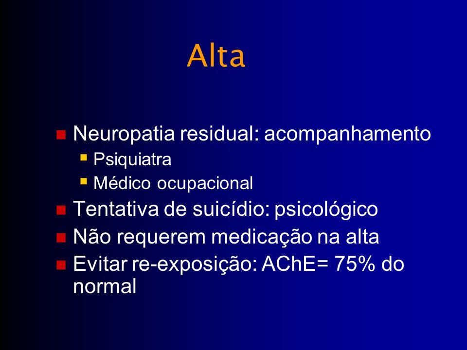 Neuropatia residual: acompanhamento Psiquiatra Médico ocupacional Tentativa de suicídio: psicológico Não requerem medicação na alta Evitar re-exposiçã