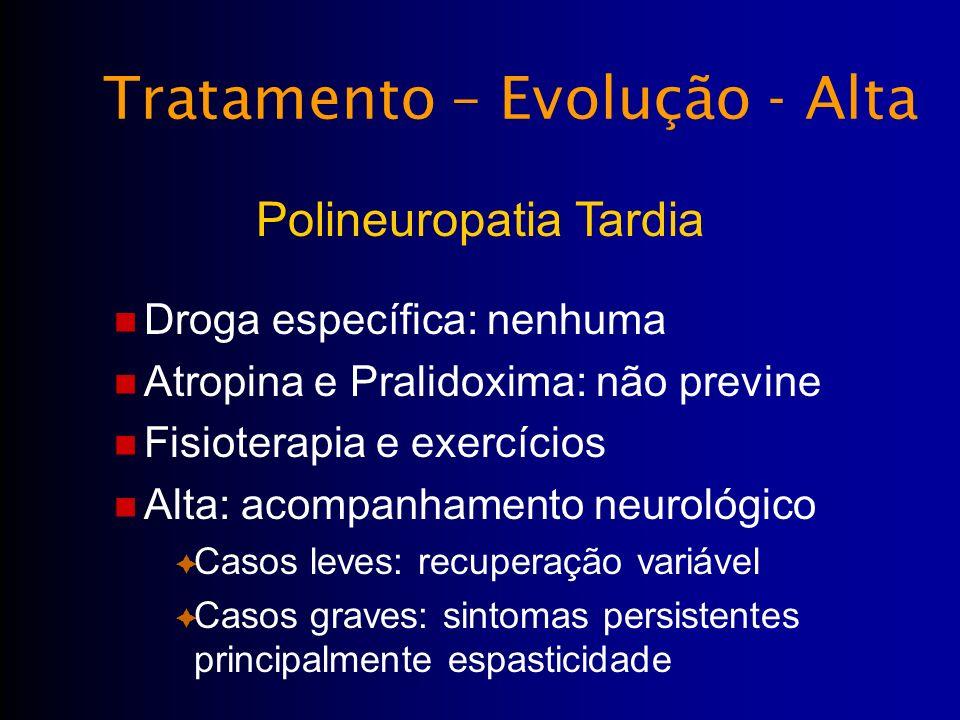 Droga específica: nenhuma Atropina e Pralidoxima: não previne Fisioterapia e exercícios Alta: acompanhamento neurológico Casos leves: recuperação vari