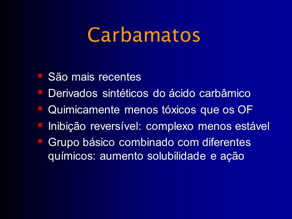São mais recentes Derivados sintéticos do ácido carbâmico Quimicamente menos tóxicos que os OF Inibição reversível: complexo menos estável Grupo básic