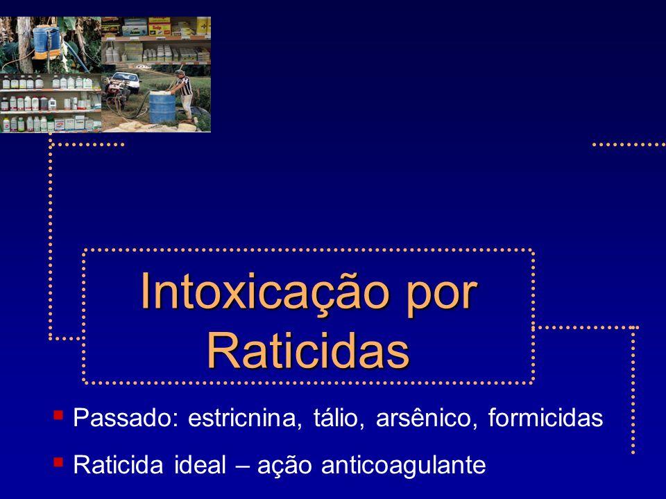 Passado: estricnina, tálio, arsênico, formicidas Raticida ideal – ação anticoagulante Intoxicação por Raticidas