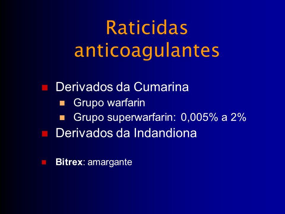 Raticidas anticoagulantes Derivados da Cumarina Grupo warfarin Grupo superwarfarin: 0,005% a 2% Derivados da Indandiona Bitrex: amargante