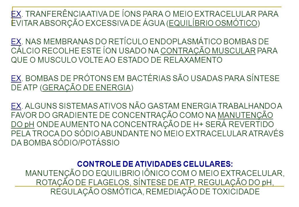 EX. TRANFERÊNCIA ATIVA DE ÍONS PARA O MEIO EXTRACELULAR PARA EVITAR ABSORÇÃO EXCESSIVA DE ÁGUA (EQUILÍBRIO OSMÓTICO) EX. NAS MEMBRANAS DO RETÍCULO END
