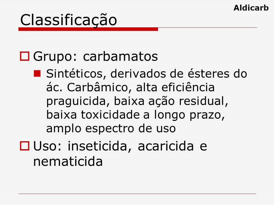Classificação Grupo: carbamatos Sintéticos, derivados de ésteres do ác. Carbâmico, alta eficiência praguicida, baixa ação residual, baixa toxicidade a