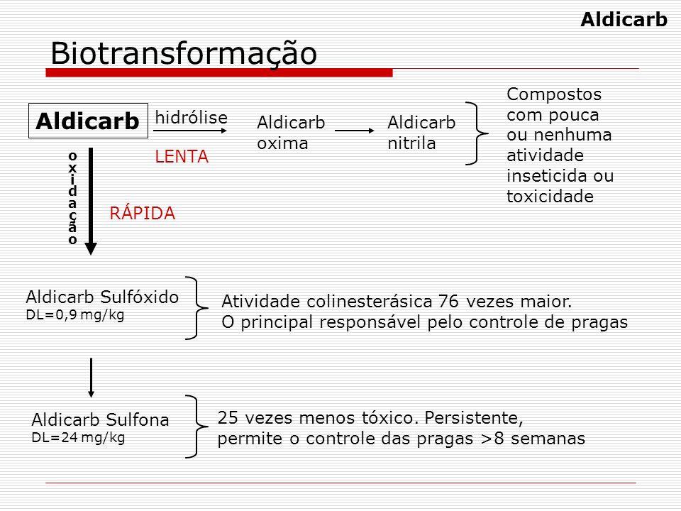 Biotransformação Aldicarb oxima Aldicarb nitrila hidrólise oxidaçãooxidação Aldicarb Sulfona DL=24 mg/kg Aldicarb Sulfóxido DL=0,9 mg/kg Atividade col