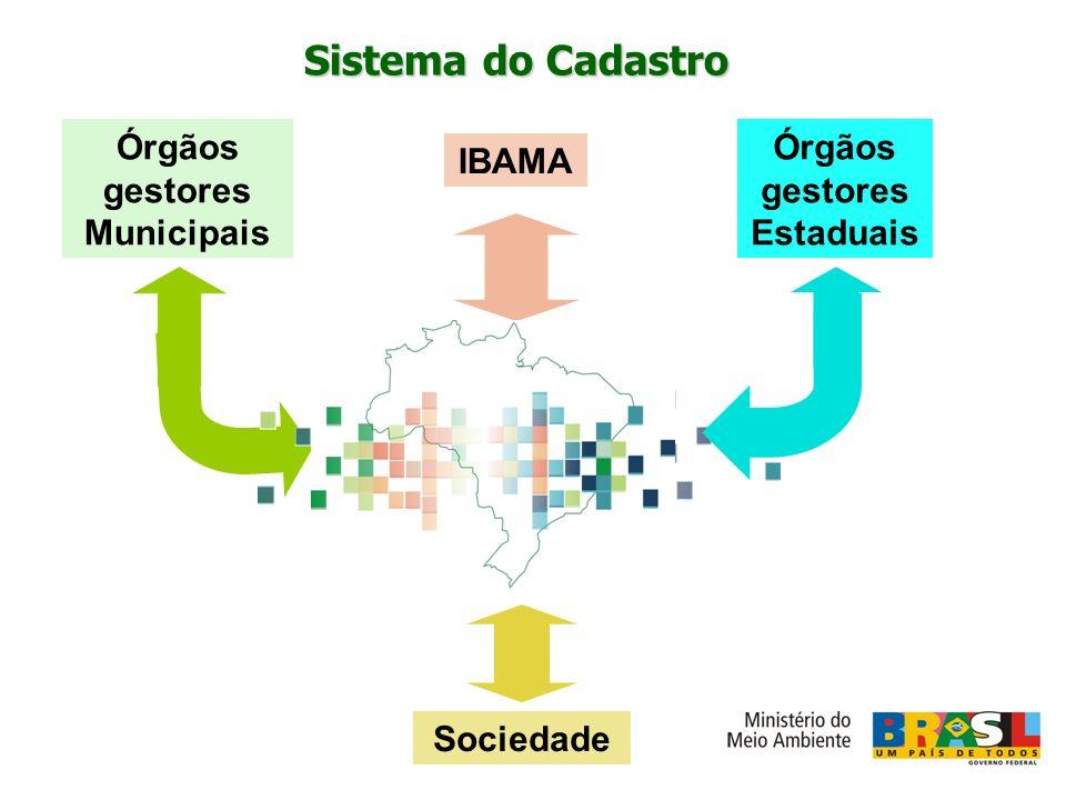 IBAMA Órgãos gestores Municipais Sociedade Órgãos gestores Estaduais Sistema do Cadastro