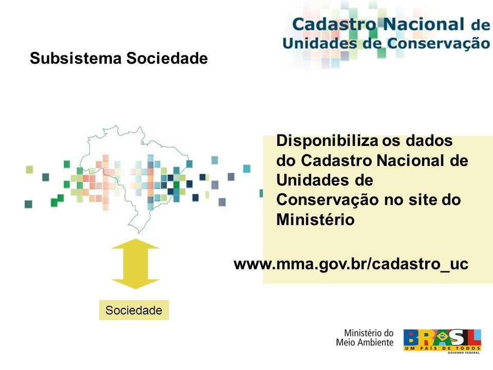 Subsistema Sociedade Sociedade Disponibiliza os dados do Cadastro Nacional de Unidades de Conservação no site do Ministério www.mma.gov.br/cadastro_uc