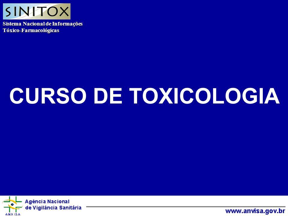Sistema Nacional de Informações Tóxico-Farmacológicas Agência Nacional de Vigilância Sanitária CURSO DE TOXICOLOGIA