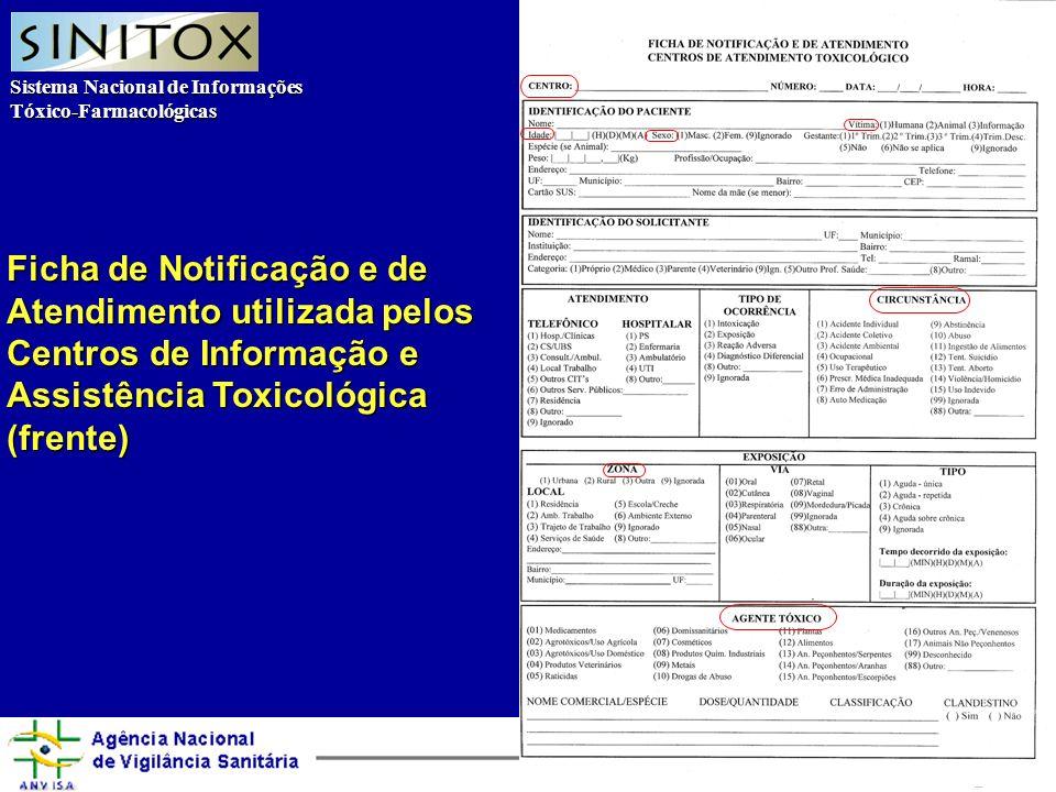 Sistema Nacional de Informações Tóxico-Farmacológicas Agência Nacional de Vigilância Sanitária Ficha de Notificação e de Atendimento utilizada pelos Centros de Informação e Assistência Toxicológica (frente)