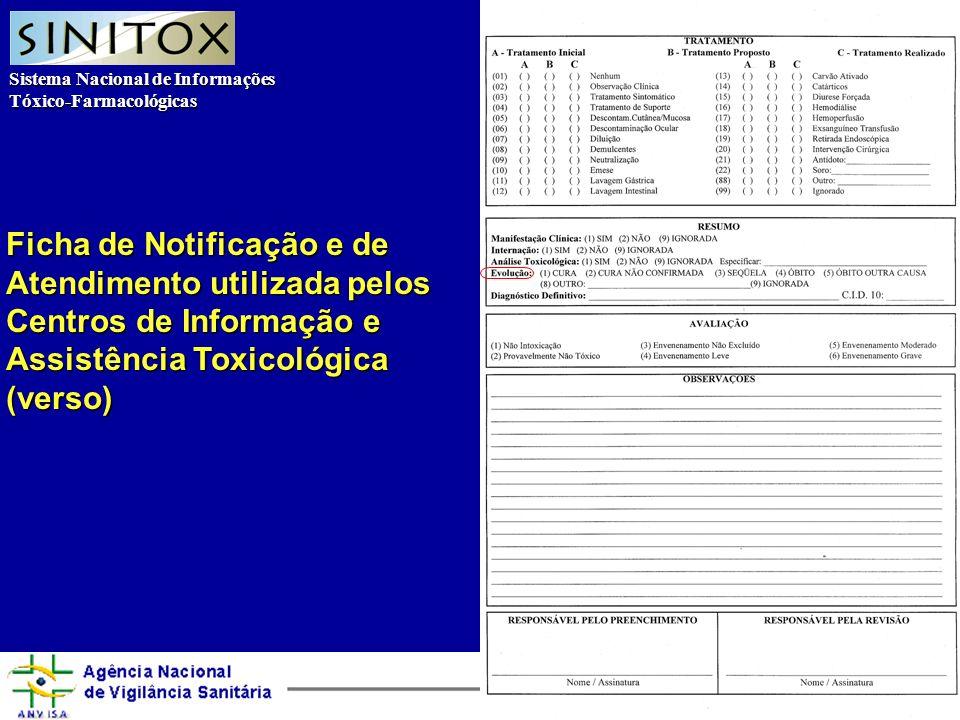 Sistema Nacional de Informações Tóxico-Farmacológicas Agência Nacional de Vigilância Sanitária Ficha de Notificação e de Atendimento utilizada pelos Centros de Informação e Assistência Toxicológica (verso)