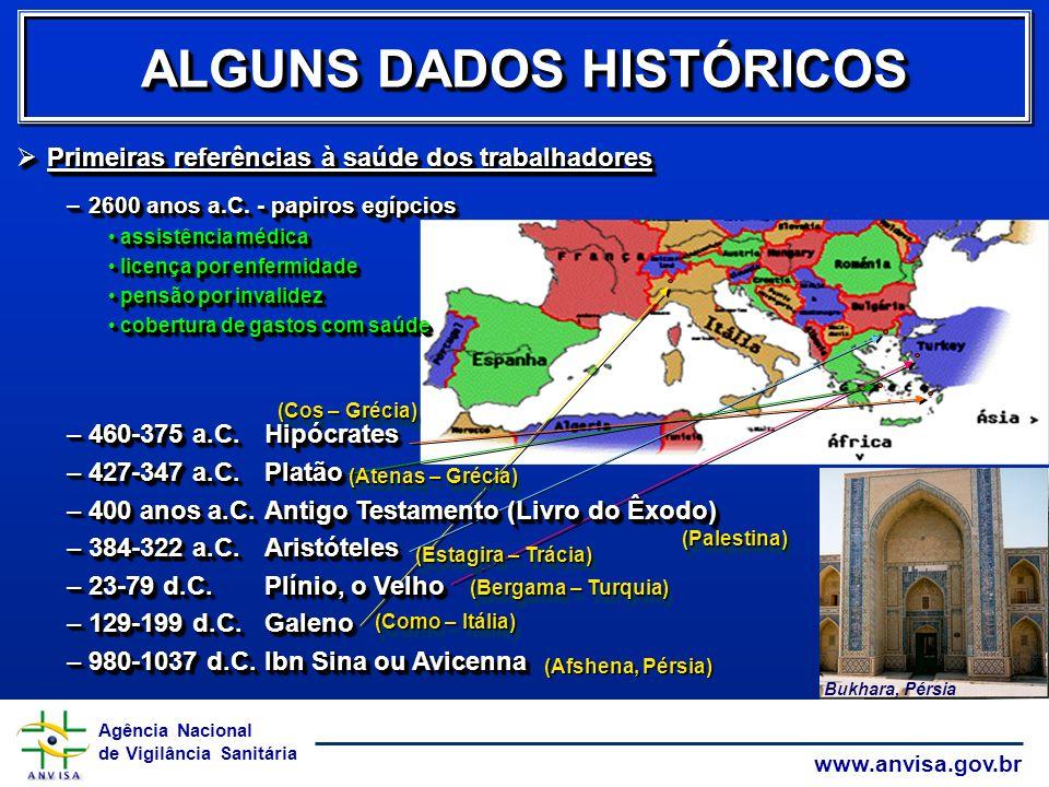 Agência Nacional de Vigilância Sanitária www.anvisa.gov.br ALGUNS DADOS HISTÓRICOS (Afshena, Pérsia) (Como – Itália) (Bergama – Turquia) (Estagira – T