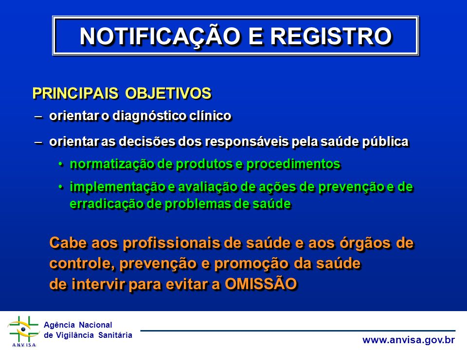 Agência Nacional de Vigilância Sanitária www.anvisa.gov.br NOTIFICAÇÃO E REGISTRO PRINCIPAIS OBJETIVOS –orientar o diagnóstico clínico –orientar as de
