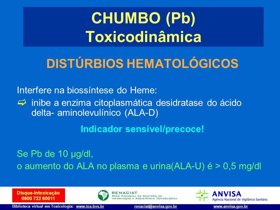 10 Disque-Intoxicação 0800 722 60011 Biblioteca virtual em Toxicologia: www.tox.bvs.brwww.anvisa.gov.brrenaciat@anvisa.gov.br DISTÚRBIOS HEMATOLÓGICOS