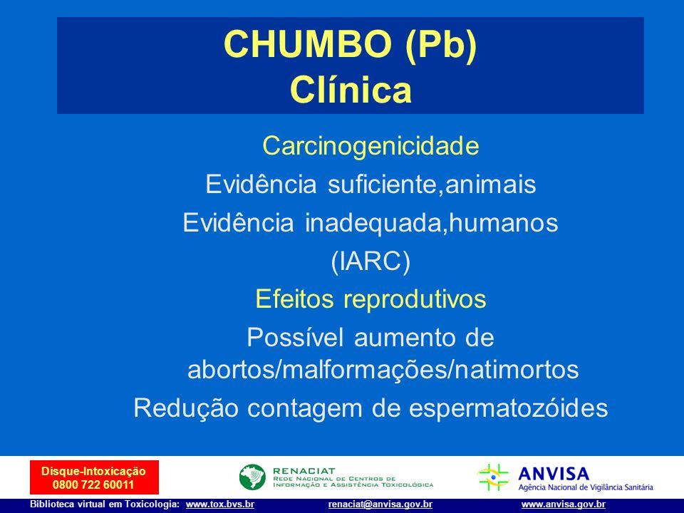 15 Disque-Intoxicação 0800 722 60011 Biblioteca virtual em Toxicologia: www.tox.bvs.brwww.anvisa.gov.brrenaciat@anvisa.gov.br Carcinogenicidade Evidên