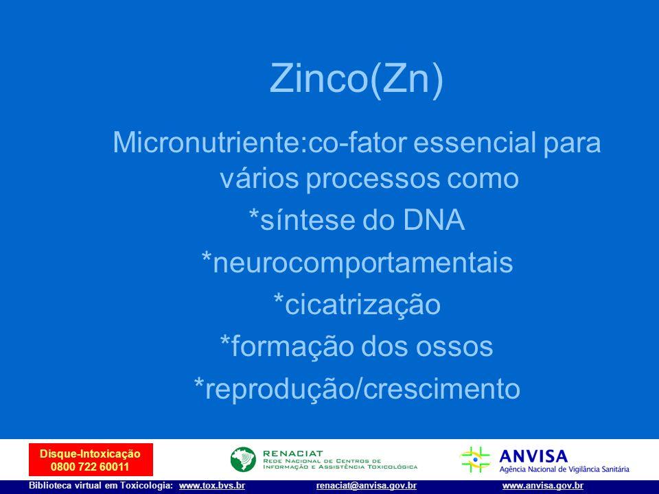 25 Disque-Intoxicação 0800 722 60011 Biblioteca virtual em Toxicologia: www.tox.bvs.brwww.anvisa.gov.brrenaciat@anvisa.gov.br Zinco(Zn) Micronutriente