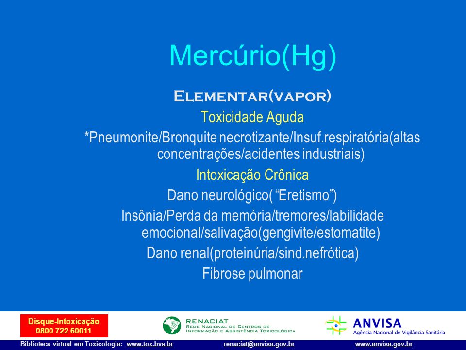 34 Disque-Intoxicação 0800 722 60011 Biblioteca virtual em Toxicologia: www.tox.bvs.brwww.anvisa.gov.brrenaciat@anvisa.gov.br Mercúrio(Hg) Elementar(v