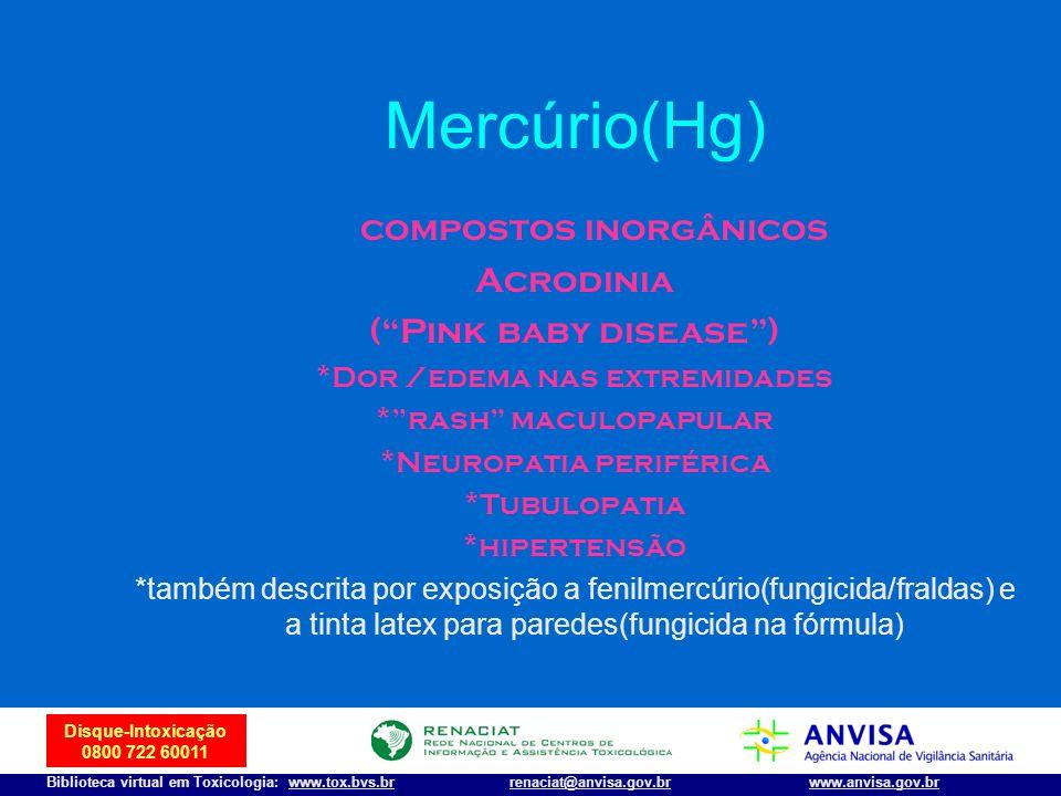 37 Disque-Intoxicação 0800 722 60011 Biblioteca virtual em Toxicologia: www.tox.bvs.brwww.anvisa.gov.brrenaciat@anvisa.gov.br Mercúrio(Hg) compostos i