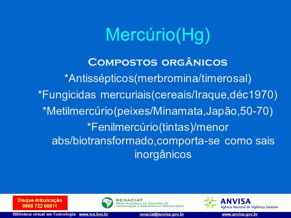 38 Disque-Intoxicação 0800 722 60011 Biblioteca virtual em Toxicologia: www.tox.bvs.brwww.anvisa.gov.brrenaciat@anvisa.gov.br Mercúrio(Hg) Compostos o