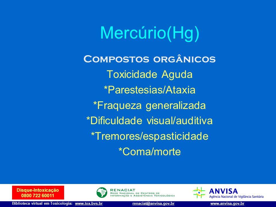 40 Disque-Intoxicação 0800 722 60011 Biblioteca virtual em Toxicologia: www.tox.bvs.brwww.anvisa.gov.brrenaciat@anvisa.gov.br Mercúrio(Hg) Compostos o