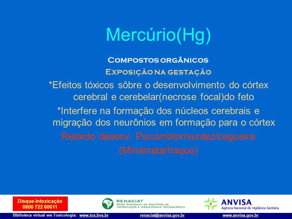 41 Disque-Intoxicação 0800 722 60011 Biblioteca virtual em Toxicologia: www.tox.bvs.brwww.anvisa.gov.brrenaciat@anvisa.gov.br Mercúrio(Hg) Compostos o