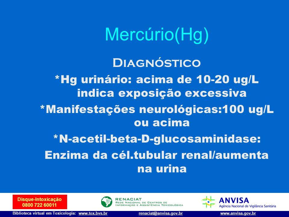 42 Disque-Intoxicação 0800 722 60011 Biblioteca virtual em Toxicologia: www.tox.bvs.brwww.anvisa.gov.brrenaciat@anvisa.gov.br Mercúrio(Hg) Diagnóstico