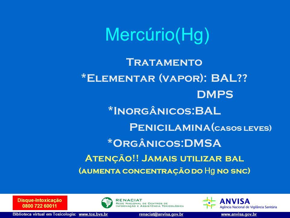 43 Disque-Intoxicação 0800 722 60011 Biblioteca virtual em Toxicologia: www.tox.bvs.brwww.anvisa.gov.brrenaciat@anvisa.gov.br Mercúrio(Hg) Tratamento