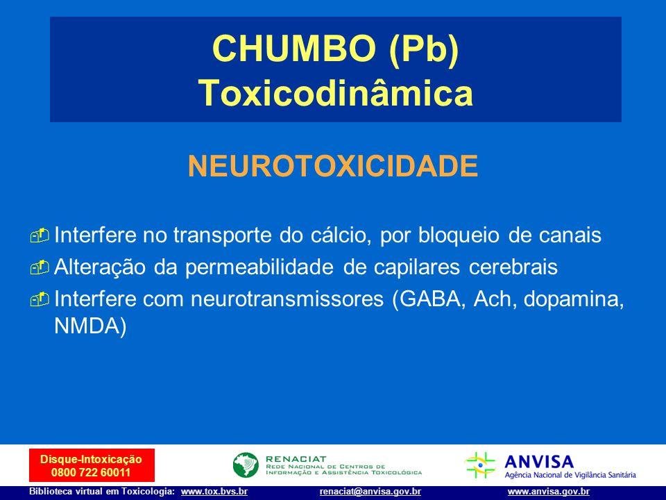 7 Disque-Intoxicação 0800 722 60011 Biblioteca virtual em Toxicologia: www.tox.bvs.brwww.anvisa.gov.brrenaciat@anvisa.gov.br NEUROTOXICIDADE Interfere