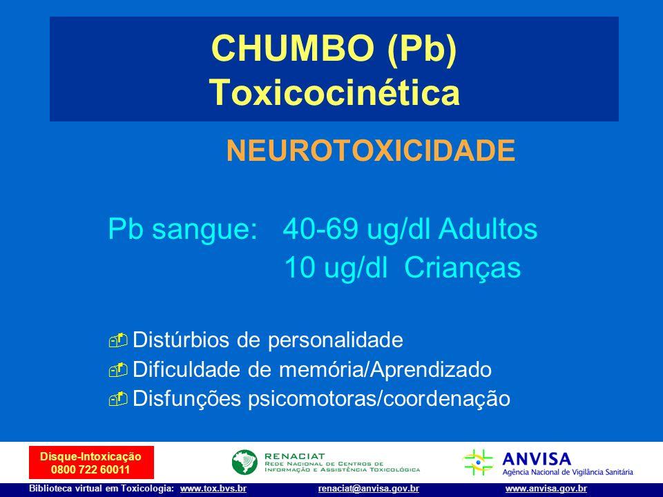 8 Disque-Intoxicação 0800 722 60011 Biblioteca virtual em Toxicologia: www.tox.bvs.brwww.anvisa.gov.brrenaciat@anvisa.gov.br NEUROTOXICIDADE Pb sangue