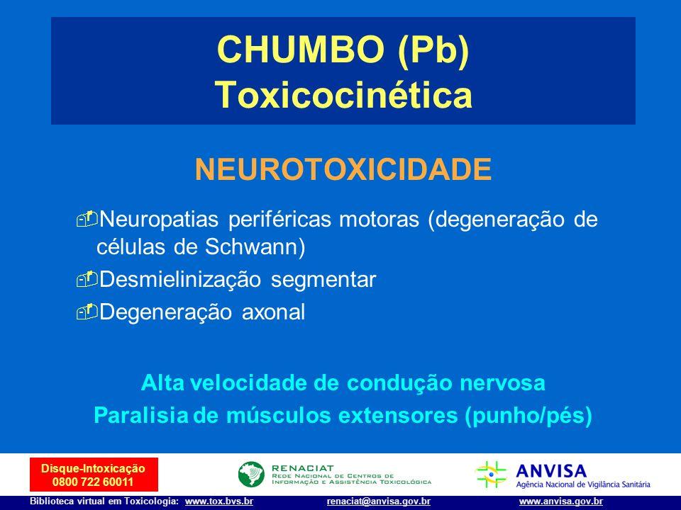 9 Disque-Intoxicação 0800 722 60011 Biblioteca virtual em Toxicologia: www.tox.bvs.brwww.anvisa.gov.brrenaciat@anvisa.gov.br NEUROTOXICIDADE Neuropati