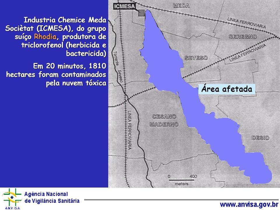 Área afetada Industria Chemice Meda Sociètat (ICMESA), do grupo suíço Rhodia, produtora de triclorofenol (herbicida e bactericida) Em 20 minutos, 1810