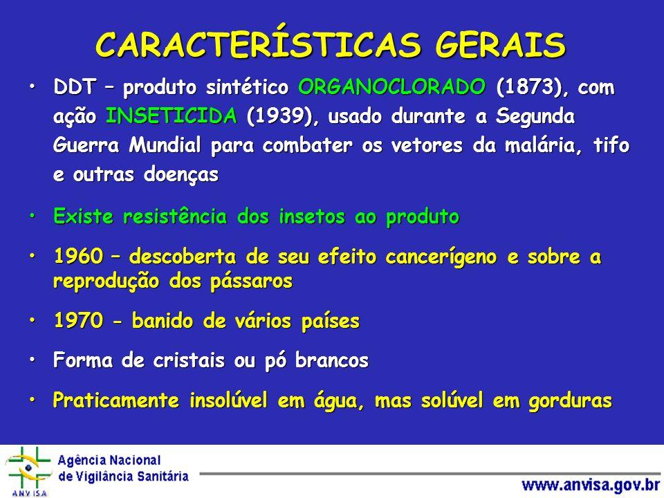 CARACTERÍSTICAS GERAIS DDT – produto sintético ORGANOCLORADO (1873), com ação INSETICIDA (1939), usado durante a Segunda Guerra Mundial para combater