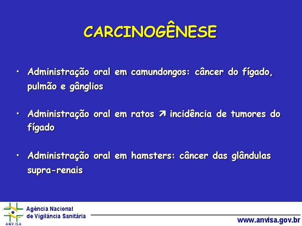 CARCINOGÊNESE Administração oral em camundongos: câncer do fígado, pulmão e gângliosAdministração oral em camundongos: câncer do fígado, pulmão e gâng