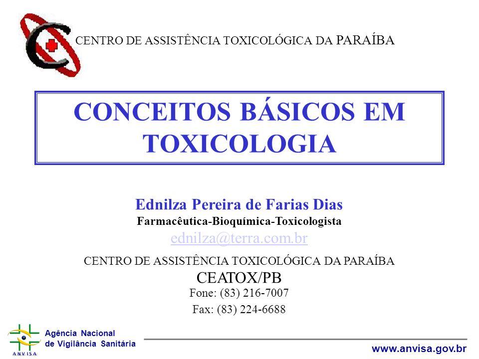 Agência Nacional de Vigilância Sanitária www.anvisa.gov.br CONCEITOS BÁSICOS EM TOXICOLOGIA Ednilza Pereira de Farias Dias Farmacêutica-Bioquímica-Tox