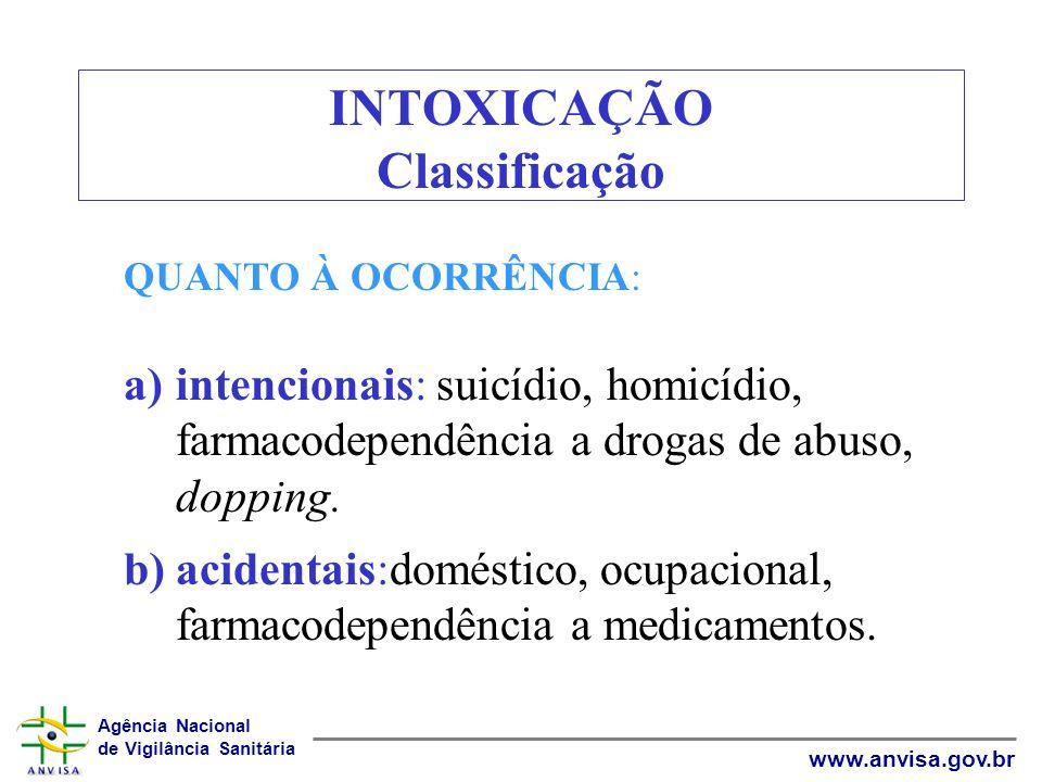 Agência Nacional de Vigilância Sanitária www.anvisa.gov.br INTOXICAÇÃO Classificação QUANTO À OCORRÊNCIA: a)intencionais: suicídio, homicídio, farmaco