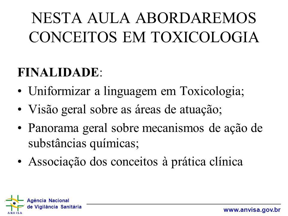 Agência Nacional de Vigilância Sanitária www.anvisa.gov.br NESTA AULA ABORDAREMOS CONCEITOS EM TOXICOLOGIA FINALIDADE: Uniformizar a linguagem em Toxi