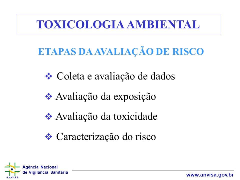 Agência Nacional de Vigilância Sanitária www.anvisa.gov.br ETAPAS DA AVALIAÇÃO DE RISCO Coleta e avaliação de dados Avaliação da exposição Avaliação d
