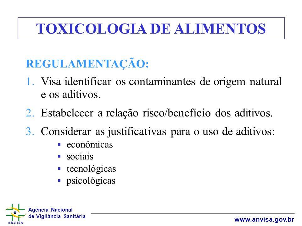 Agência Nacional de Vigilância Sanitária www.anvisa.gov.br TOXICOLOGIA DE ALIMENTOS REGULAMENTAÇÃO: 1.Visa identificar os contaminantes de origem natu