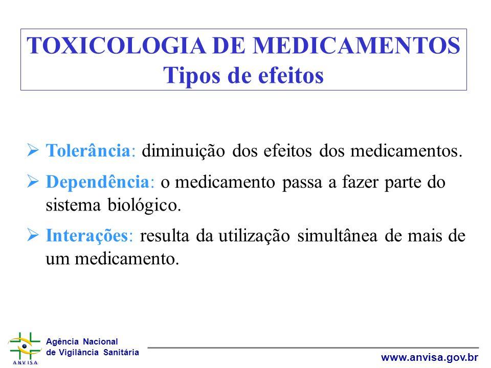 Agência Nacional de Vigilância Sanitária www.anvisa.gov.br Tolerância: diminuição dos efeitos dos medicamentos. Dependência: o medicamento passa a faz