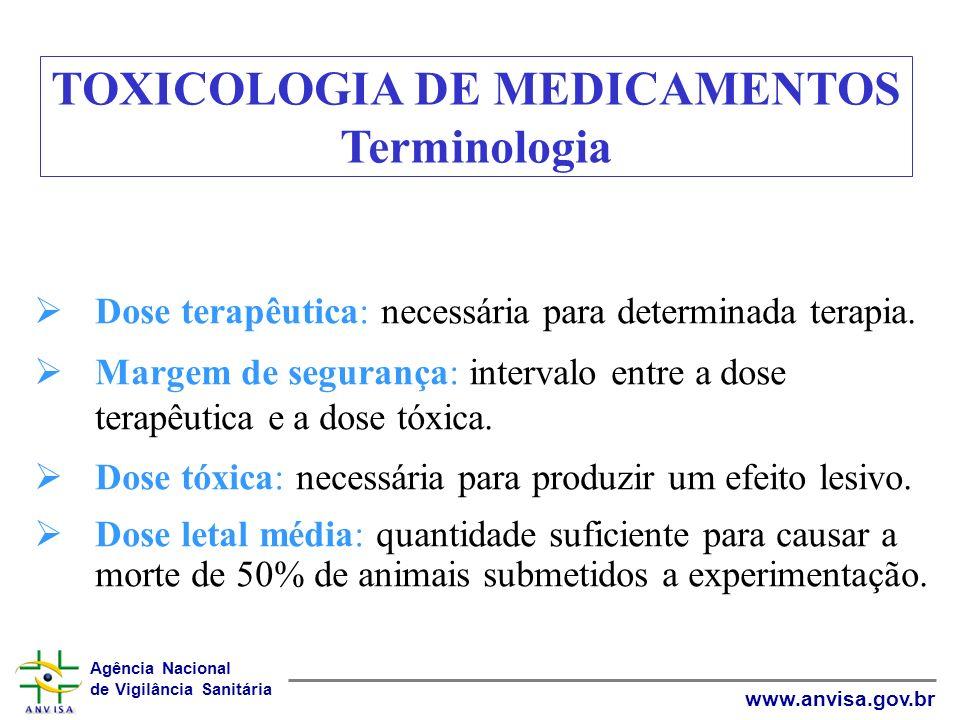 Agência Nacional de Vigilância Sanitária www.anvisa.gov.br Dose terapêutica: necessária para determinada terapia. Margem de segurança: intervalo entre