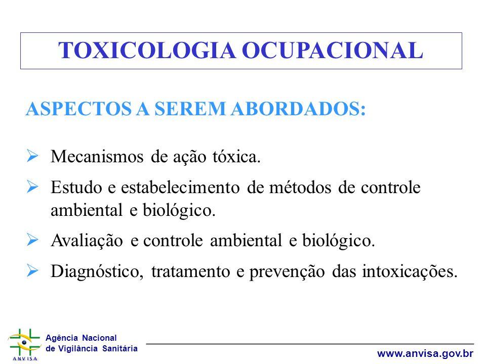 Agência Nacional de Vigilância Sanitária www.anvisa.gov.br ASPECTOS A SEREM ABORDADOS: Mecanismos de ação tóxica. Estudo e estabelecimento de métodos