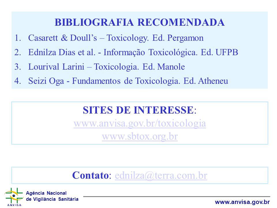 Agência Nacional de Vigilância Sanitária www.anvisa.gov.br BIBLIOGRAFIA RECOMENDADA 1.Casarett & Doulls – Toxicology. Ed. Pergamon 2.Ednilza Dias et a