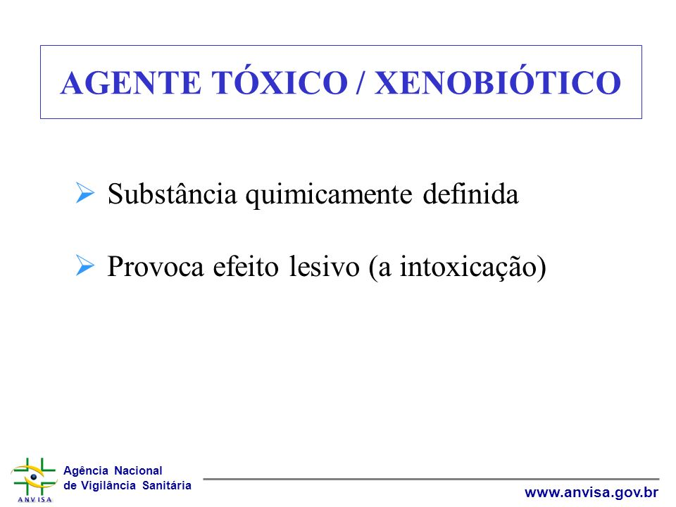 Agência Nacional de Vigilância Sanitária www.anvisa.gov.br AGENTE TÓXICO / XENOBIÓTICO Substância quimicamente definida Provoca efeito lesivo (a intox