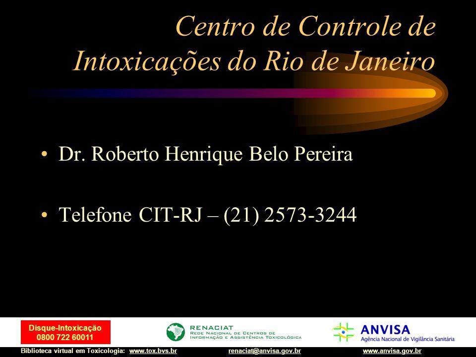 72 Disque-Intoxicação 0800 722 60011 Biblioteca virtual em Toxicologia: www.tox.bvs.brwww.anvisa.gov.brrenaciat@anvisa.gov.br Metanol Tratamento: LG+CA Tratamento rigoroso da acidose Etanol – EV 10ml/kg de sol 10% em SG 30min +1-2ml/kg/h Etanol – VO 2ml/kg sol 40% em 30 min+em média 0.15ml/kg/h