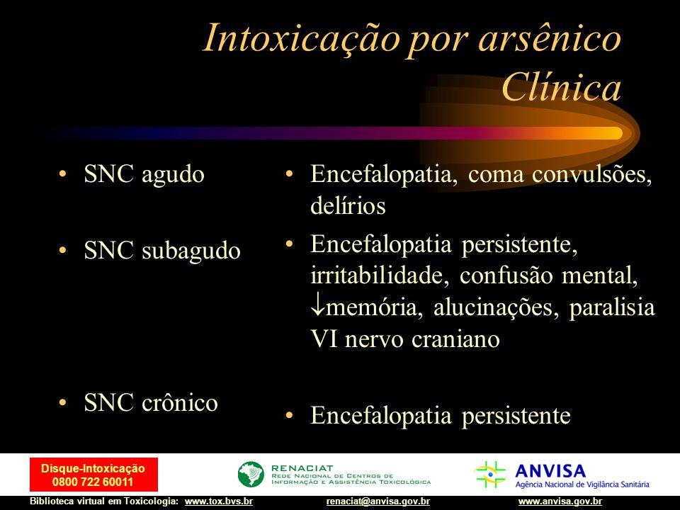 11 Disque-Intoxicação 0800 722 60011 Biblioteca virtual em Toxicologia: www.tox.bvs.brwww.anvisa.gov.brrenaciat@anvisa.gov.br Intoxicação por arsênico